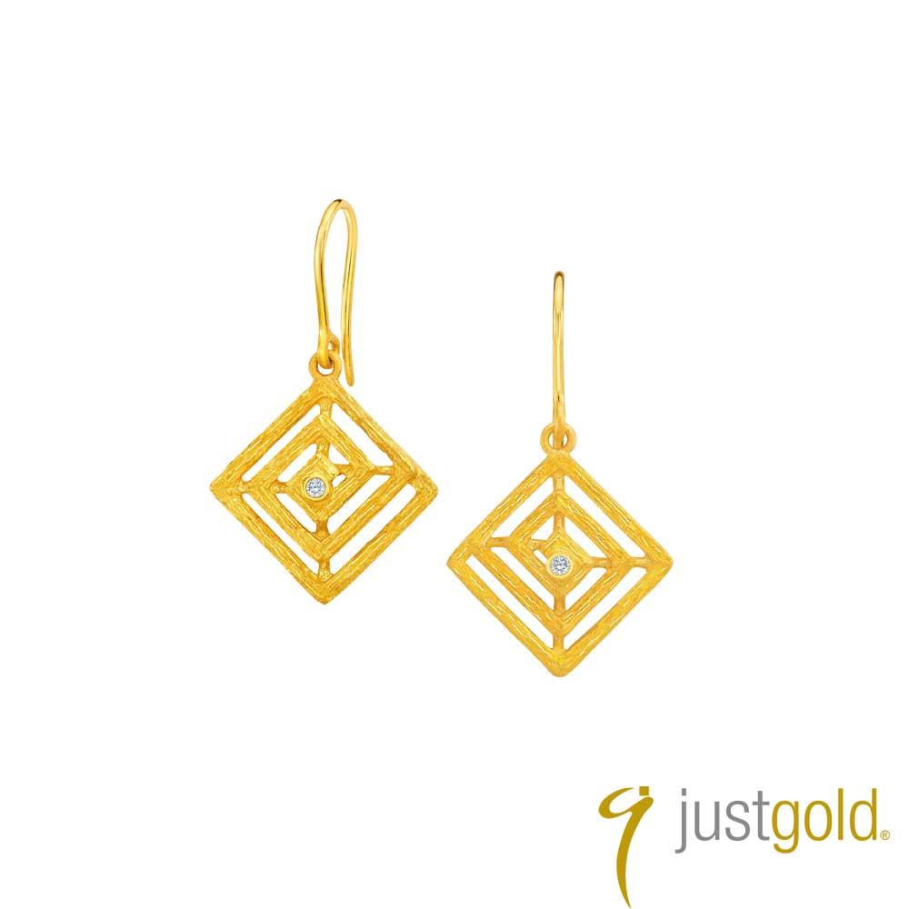 鎮金店Just Gold 智慧光芒系列 黃金耳環(耳勾)