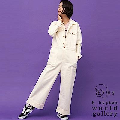 E hyphen 三戶夏芽著用款-前扣造型連身工作褲