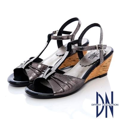 DN-頂級MIT-柔軟羊皮T字水鑽繫踝楔型涼鞋-黑