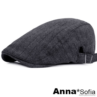 【滿額再75折】AnnaSofia 粗條細線飾 鴨舌帽小偷帽(灰黑系)