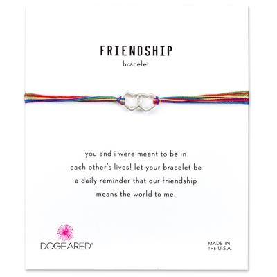 Dogeared Friendship 銀色愛心手鍊 迷你雙墜 彩色 防水繩衝浪手鍊
