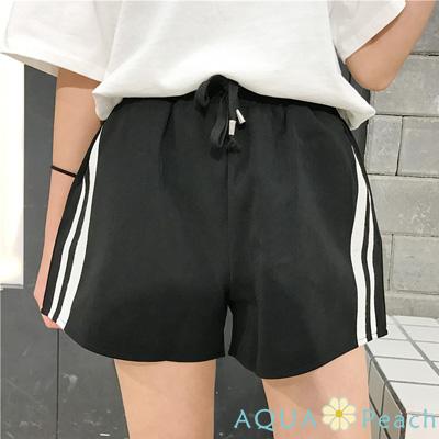 側邊條抽繩綁帶口袋運動短褲 (共三色)-AQUA Peach