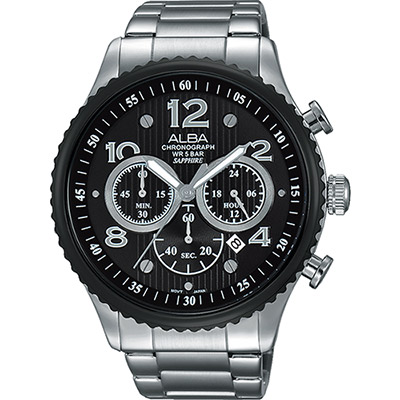 ALBA RACE 極限賽車計時腕錶(AT3971X1)-黑/45mm