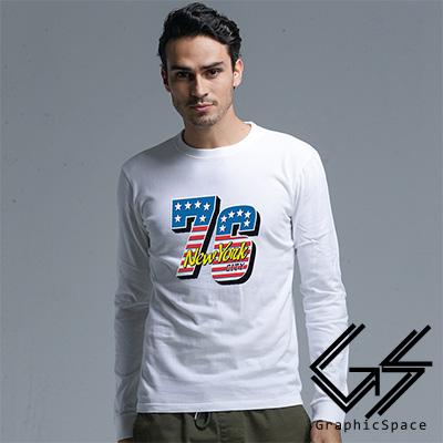 美國國旗76號磨毛水洗長袖T恤 (共二色)-GraphicSpace