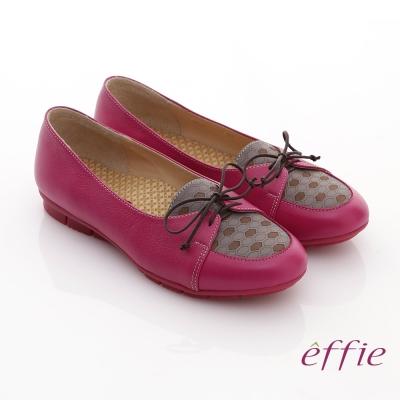 effie 活力勁步 全牛皮格紋綁帶休閒平底鞋 桃粉紅
