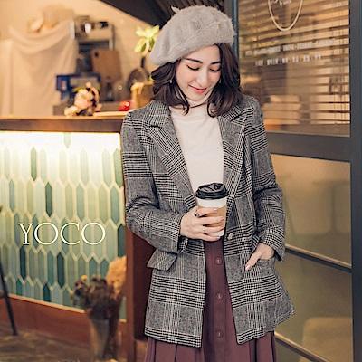 東京著衣-yoco 英式復古格紋翻領口袋西裝外套-S.M.L(共一色)