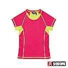 SASAKI 高彈力機能性運動緊身圓領短衫-女-中桃紅/艷黃