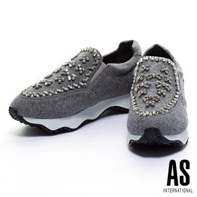 休閒鞋-AS-手工縫鑽造型毛呢布厚底休閒鞋-灰