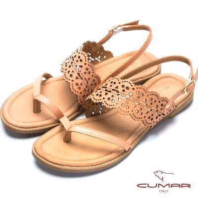 CUMAR氣質美人 典雅雕花平底夾腳涼鞋-柑色