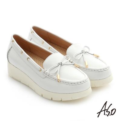 A.S.O 輕量休閒 真皮蝴蝶結飾釦奈米窩心休閒鞋 白色