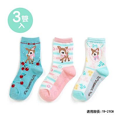 Sanrio 哈妮鹿 3入兒童短襪19-21cm(小花)
