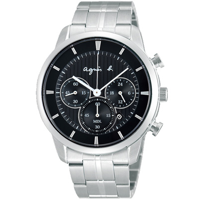 agnes b. 太陽能 魔力三眼計時腕錶(BU8009P1)-黑x銀/40mm