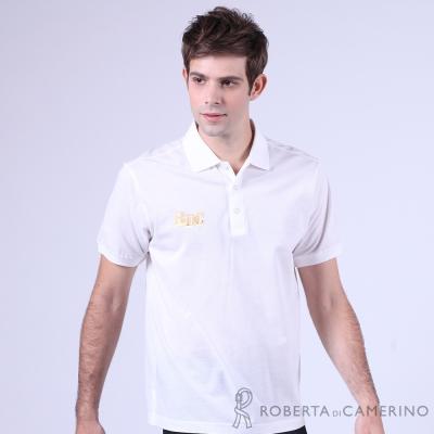 ROBERTA諾貝達 台灣製 修身版 休閒 純棉短袖POLO棉衫 白色