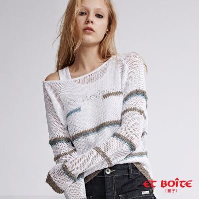 ETBOITE 箱子 BLUE WAY 結紗條紋針織毛衣