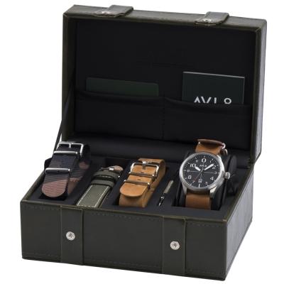 AVI-8 飛行錶 FLYBOY 飛行男孩時尚禮盒組/贈三條錶帶-黑x咖啡/43mm