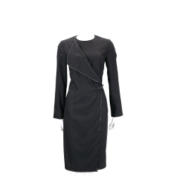 Max Mara 深灰色翻領側腰帶設計長袖洋裝(90%WOOL)