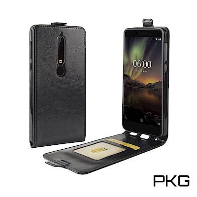 PKG Nokia6-2018 皮套-上下翻式-黑