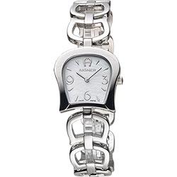 AIGNER Casoria 愛格納馬蹄造型手鍊錶-珍珠貝x銀/24mm