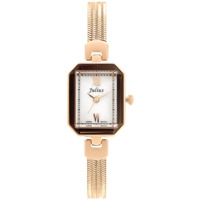 JULIUS聚利時左岸呢喃貝殼面鍊飾腕錶-玫瑰金20x26mm
