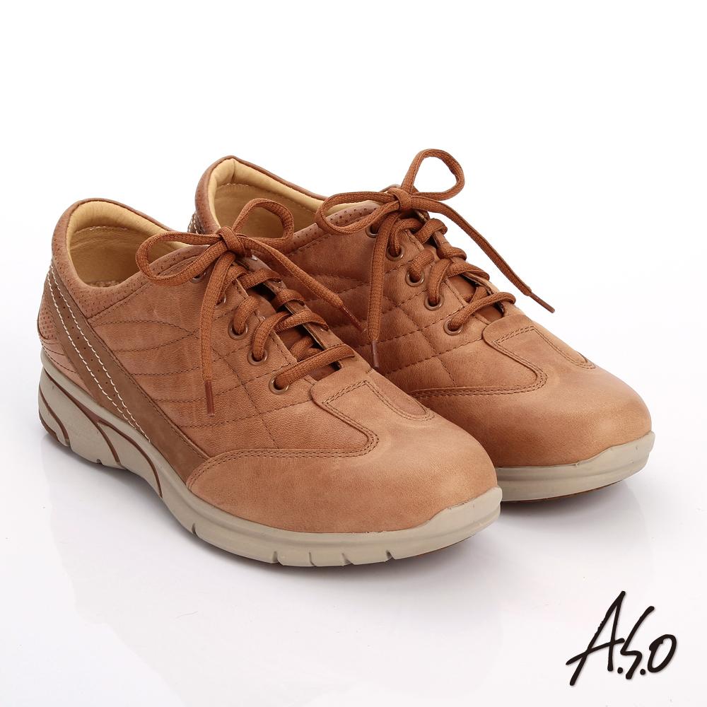 A.S.O 紓壓耐走 簡約牛皮縫線拼接奈米休閒鞋 茶色