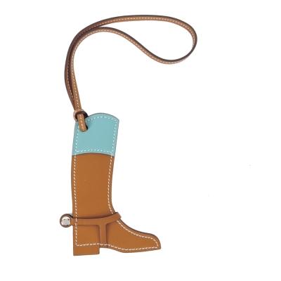 HERMES 馬靴造型拼色牛皮吊飾(卡其X水藍)