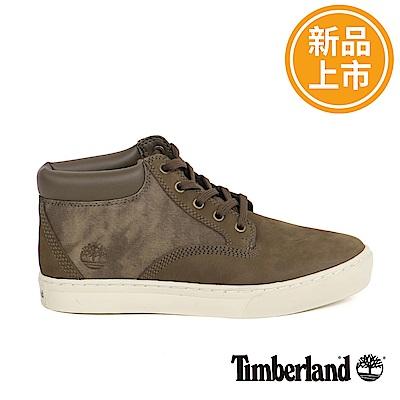 Timberland 男款深咖啡皮革搭布料休閒靴