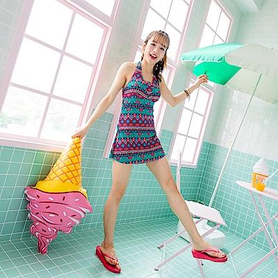 繽紛印花繞頸美背連身裙式泳裝‧3色-OB大尺碼