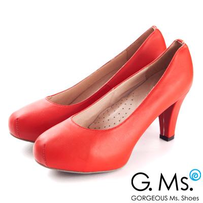 G.Ms.推薦通勤鞋‧靜音鞋跟真皮厚底粗跟包鞋‧顯白紅