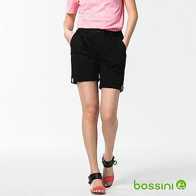 bossini女裝-反摺卡其短褲黑