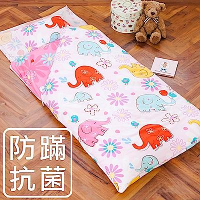 鴻宇HongYew 防蹣抗菌 美國棉100%精梳棉-心心象印 舖棉兩用加大型兒童睡袋