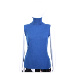 Andre Maurice 100%CASHMERE 藍色高領無袖毛衣