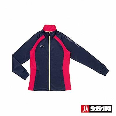 SASAKI 吸濕排汗功能伸縮針織運動夾克-女-丈青/桃紅