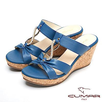 CUMAR時尚品味-優雅鑽飾真皮船形跟涼鞋-藍