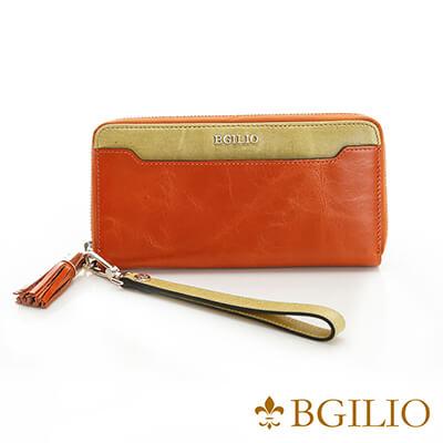 義大利BGilio-義大利蜡感牛皮拉鍊手腕帶長夾-橙色-2248.326-11