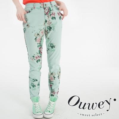 OUWEY歐薇-印花牛仔窄管褲