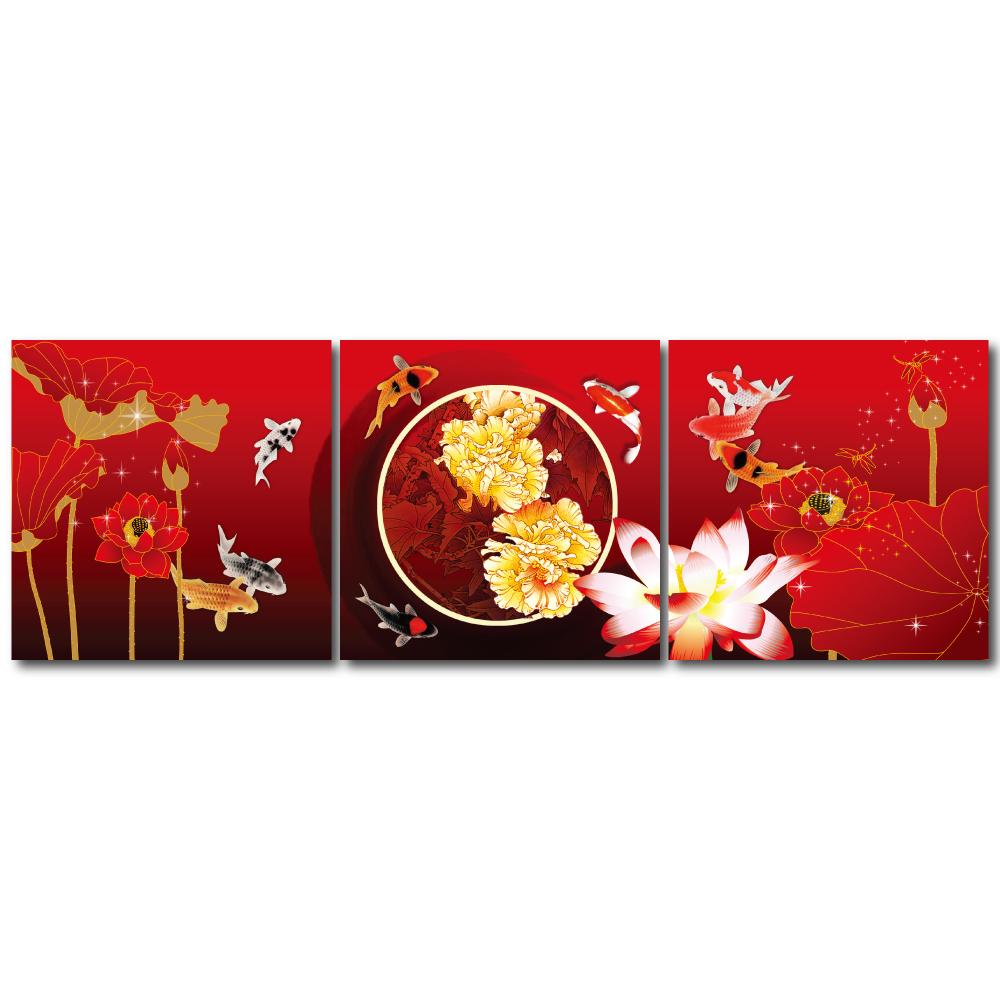 橙品油畫布- 三聯無框圖畫藝術家飾品 - 富貴吉祥50*50cm