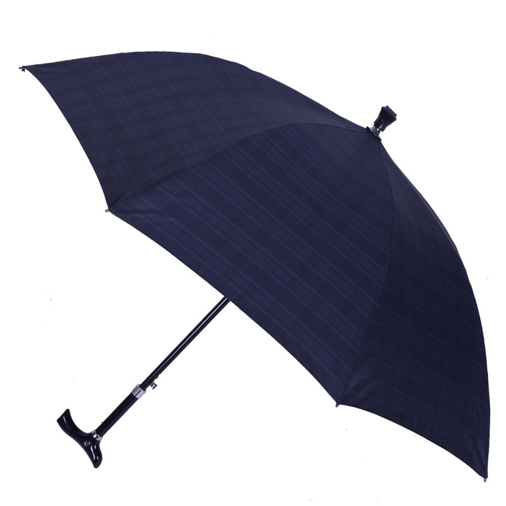 2mm 經典格紋5段式拐杖自動直傘/健行傘 (深藍)