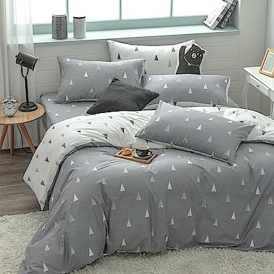 鴻宇HongYew 100%精梳棉 森林小樹 灰 單人床包枕套兩件組