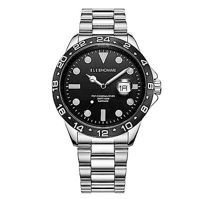 ELLE 經典黑錶盤不鏽鋼腕表-銀色X黑色/45mm