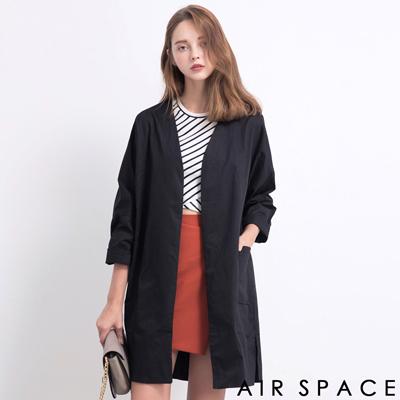 AIR-SPACE-俐落開衫寬袖大衣外套-黑
