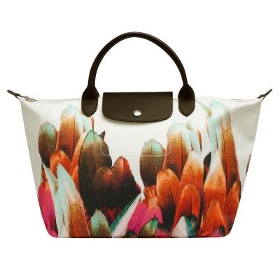 LONGCHAMP Tribu Longchamp短把七彩羽毛手提包(中-赤陶色) @ Y!購物