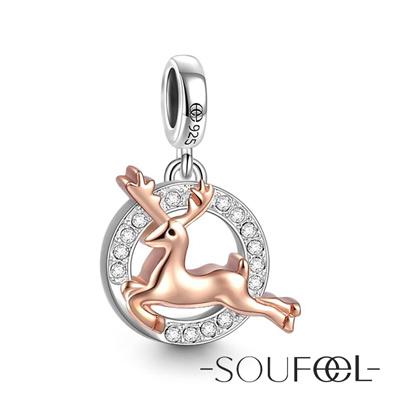 SOUFEEL索菲爾 925純銀珠飾 聖誕麋鹿(玫瑰金) 吊飾