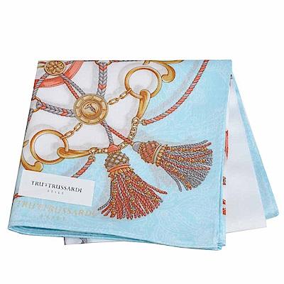 TRUSSARDI 優雅品牌流蘇浮水印圖騰LOGO大帕領巾(水藍)