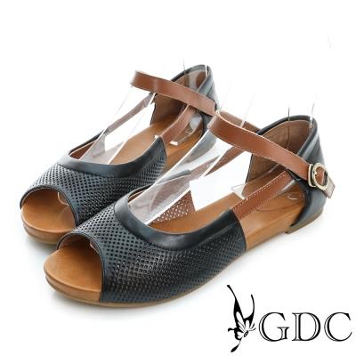 GDC-清新可愛沖孔真皮平底一字涼鞋-黑色