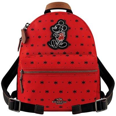COACH Disney紅色Mickey輕量尼龍後背包