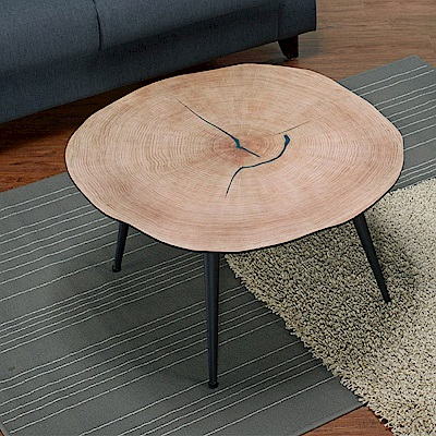AT HOME-工業風設計雲形樹輪茶几(80*80*45cm)泰林