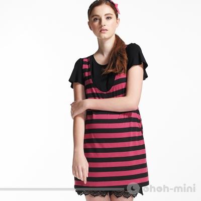 【ohoh-mini 孕婦裝】基本棉質假兩件橫條孕婦上衣(兩色)
