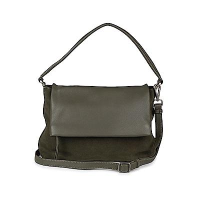 MARKBERG Zyrah 丹麥手工牛皮時尚反折肩揹包 斜背包/側揹包(個性絨綠)