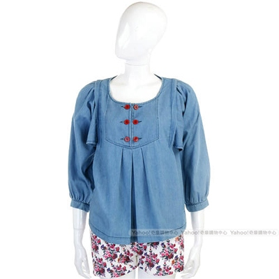 SEE BY CHLOE 藍色紅排釦設計牛仔上衣