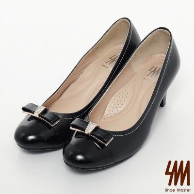 SM-台灣製真皮系列-拼色甜美蝴蝶結高跟鞋-黑色